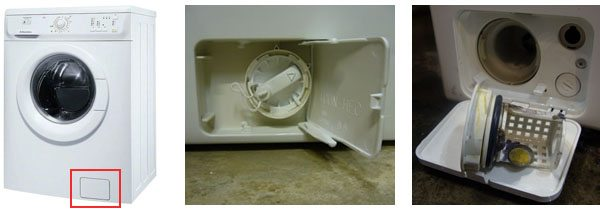 Снять фильтр сливного насоса стиральной машины