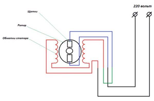 Схема подключения мотора стиральной машины