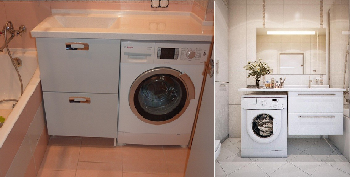 стиральная машина с фронтальной загрузкой в интерьере