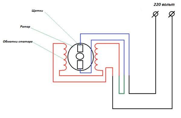 схема подключения двигателя к сети