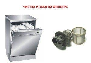 Замена и чистка фильтра посудомоечной машины