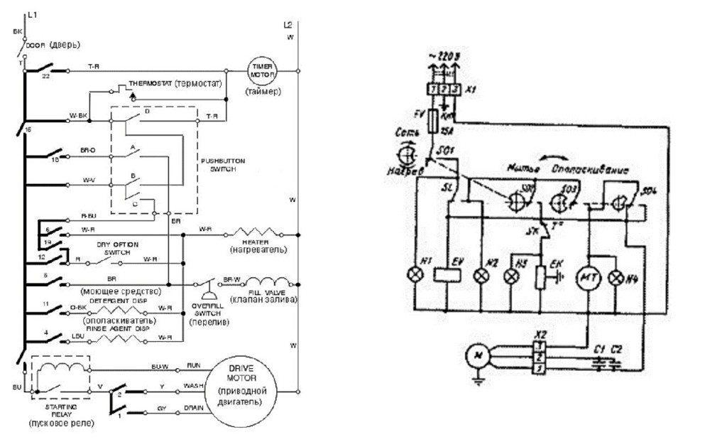 электрическая схема посудомойки