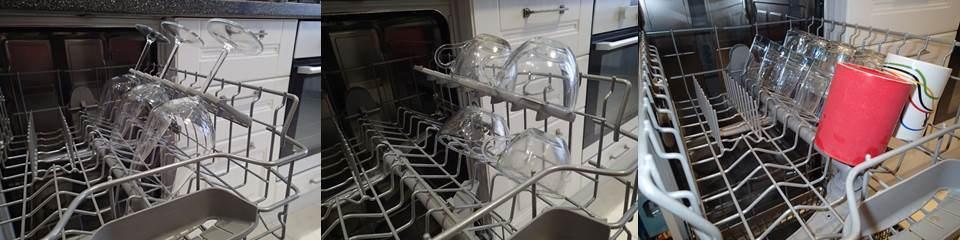 расположение стаканов и бокалов в посудомойке