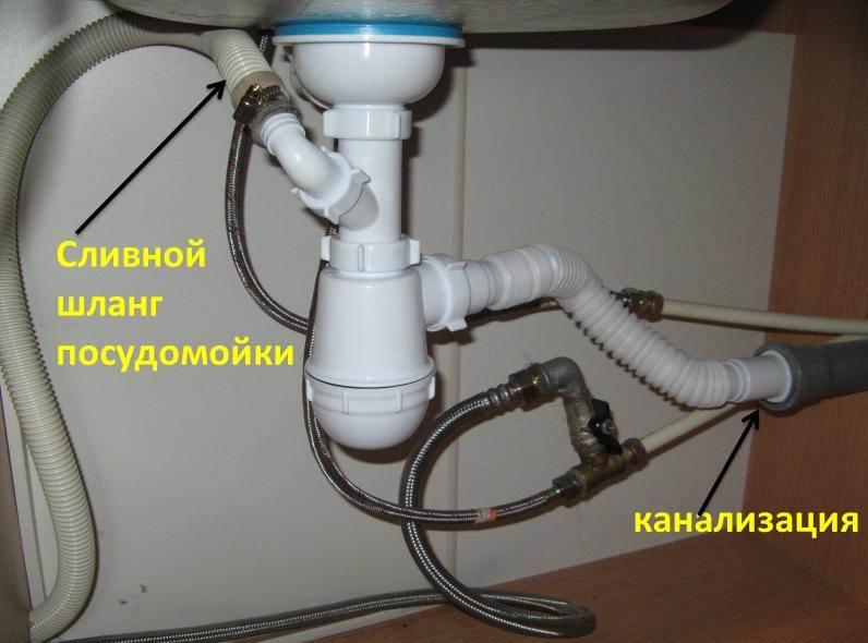 подключение посудомоечной машины к сливу