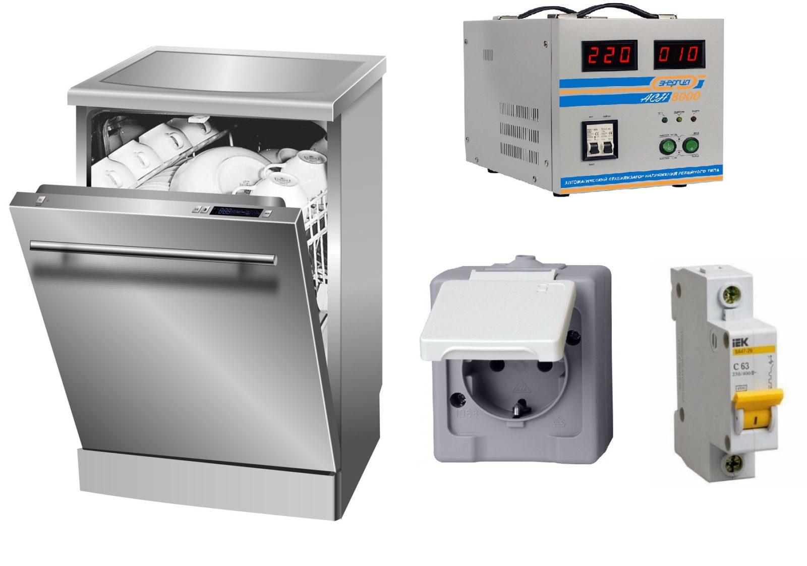 Автомат и розетка для посудомоечной машины