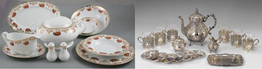 фарфоровая и серебряная посуда