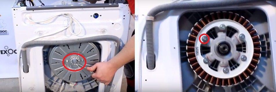 откручиваем центральный болт крепящий двигатель