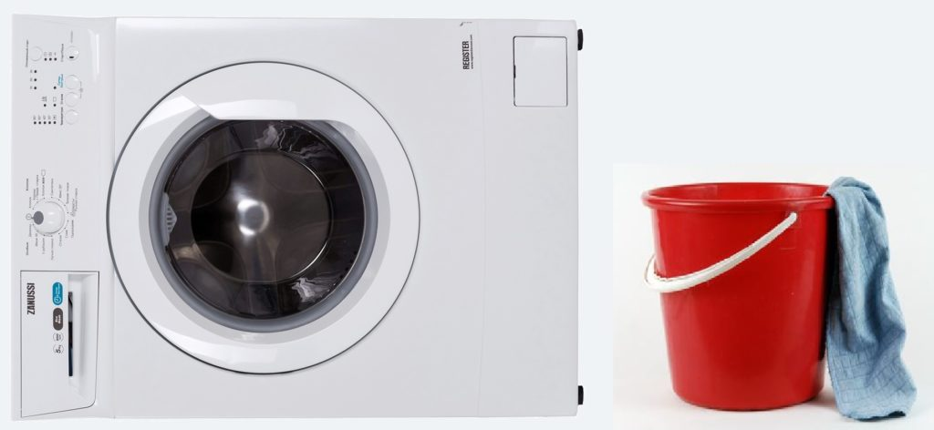 кладем стиральную машину на бок