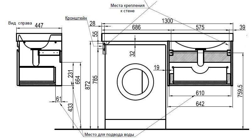 схема установки столешницы со стиралкой