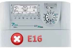 Ошибка E16 в стиральных машинах Candy