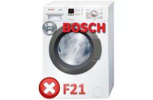 Ошибка F21 в стиарльной машине Bosch