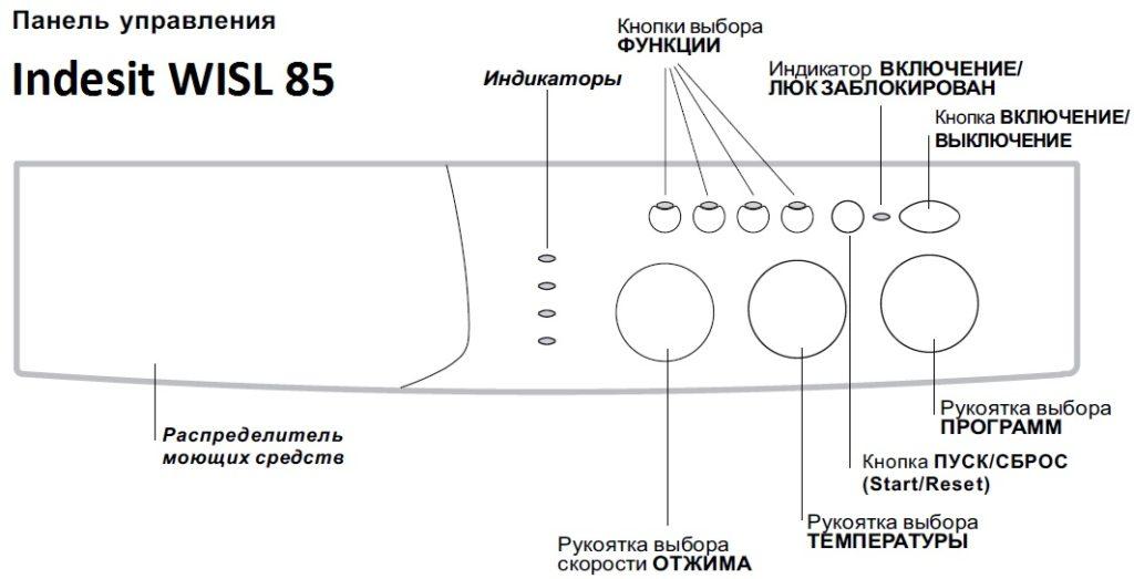 схема панели управления стиральной машины Индезит