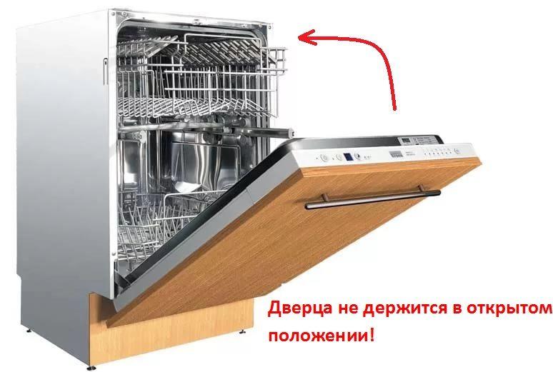 Дверь посудомоечной машины не фиксируется в открытом положении