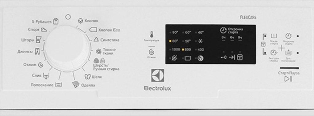 Electrolux EWT 0862 IDW панель управления