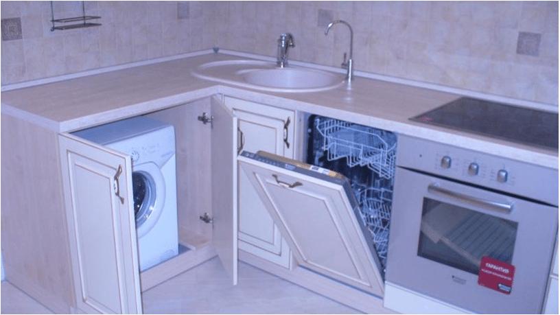 еще один вариант расположения посудомойки рядом с раковиной