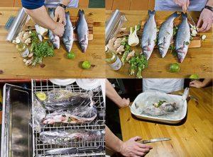 Приготовление рыбы в посудомойке