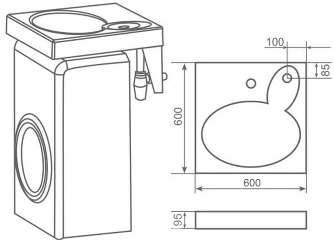 эскиз раковины над стиральной машиной