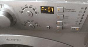 Ошибка F07 на стиральной машине Аристон