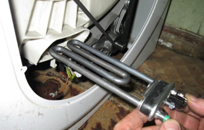 извлекаем ТЭН из стиральной машины