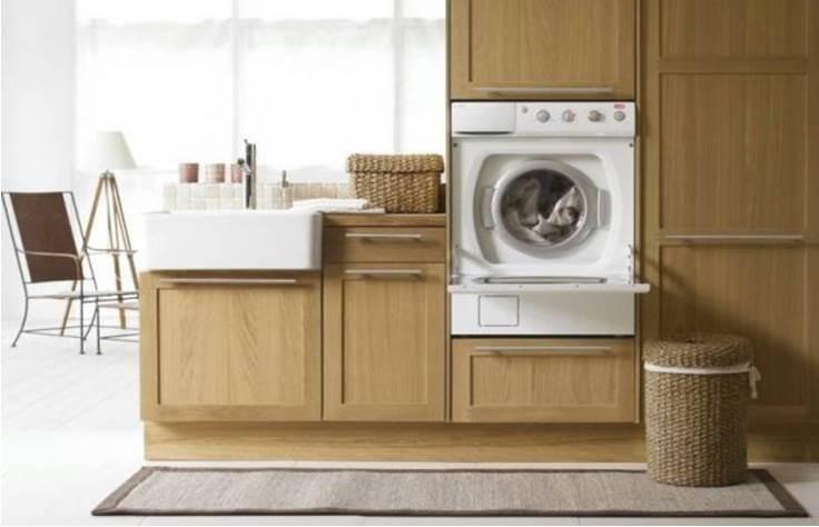 необычное встраивание стиральной машины на кухне