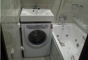 установка машинки в ванной