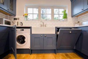 установка стиралки в кухне