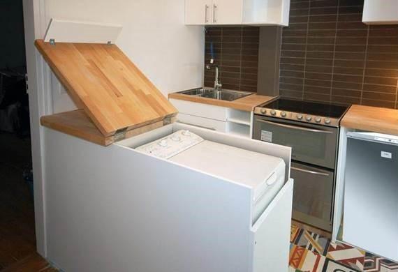 как установить стиральную машину с вертикальной загрузкой в кухне