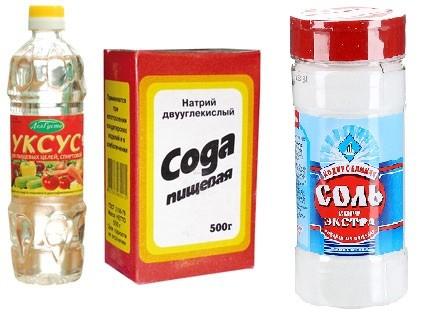уксус соль и сода помогают размягчить ткань