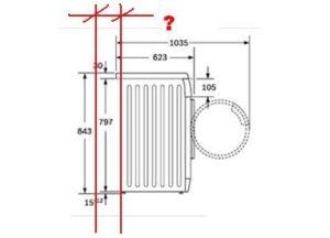 Какое расстояние должно быть между стиральной машиной и стеной?