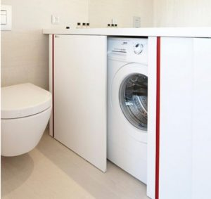 Как скрыть стиральную машину в ванной?