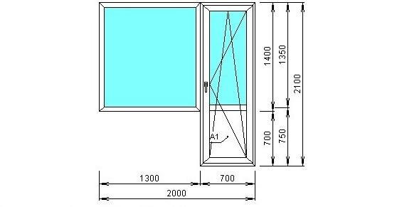 ширина балконных дверей