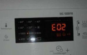 Ошибка E02 в стиральной машине Electrolux