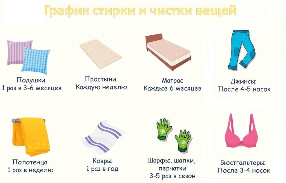 график чистки вещей