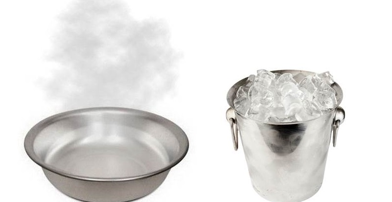 подготовьте емкость с горячей водой и льдом
