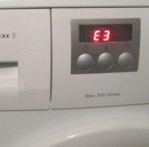 Ошибка E3 в стиральной машине Бош
