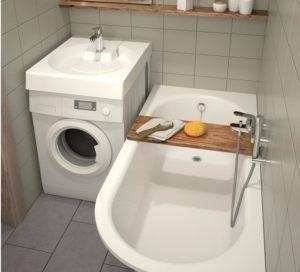 Как в маленькой ванной разместить стиральную машину и раковину?