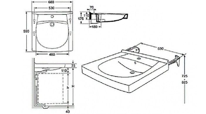 установка раковины схема