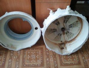 Как разобрать склеенный бак стиральной машины?