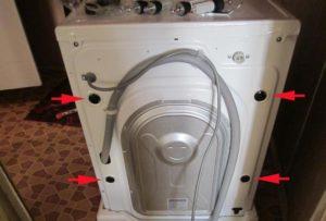 Снятие транспортировочных болтов на стиральной машине Candy