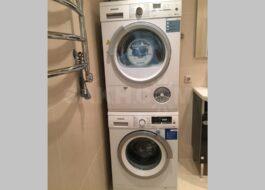 Установка стиральной и сушильной машины Siemens в колонну