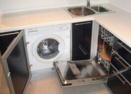 Кухня со стиральной машиной и посудомоечной машиной