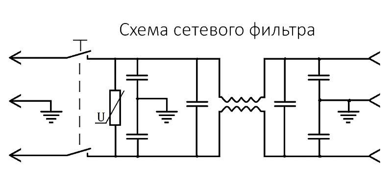 схема сетевого фильтра СМ