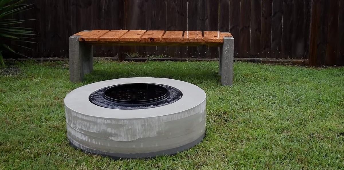 очаг в бетонном кольце