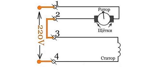 подключение щеток для изменения направления вращения ротора