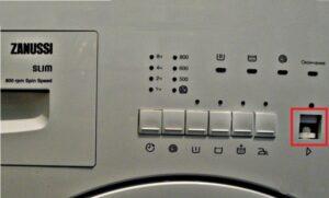 Запала кнопка включения на стиральной машине