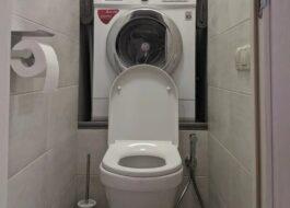 Установка стиральной машины в туалете