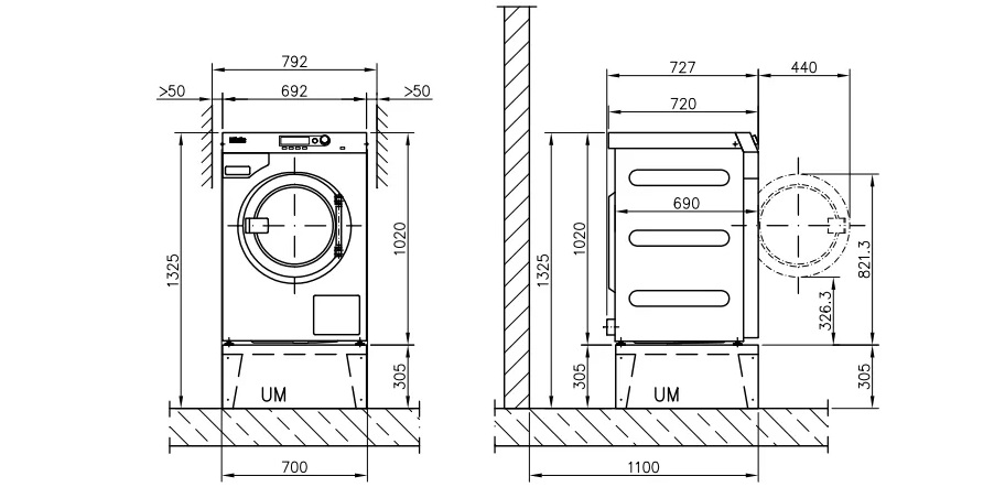 размеры машинок с фронтальной загрузкой