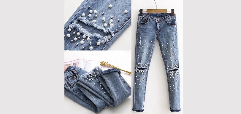 осторожно с украшенными джинсами
