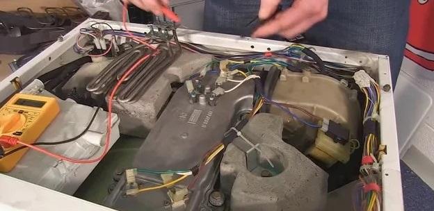 извлечение ТЭНа сушки стиральной машины